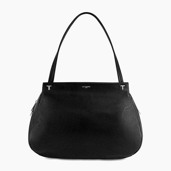 Grand sac porté épaule Le Tanneur Zoé en cuir grainé noir