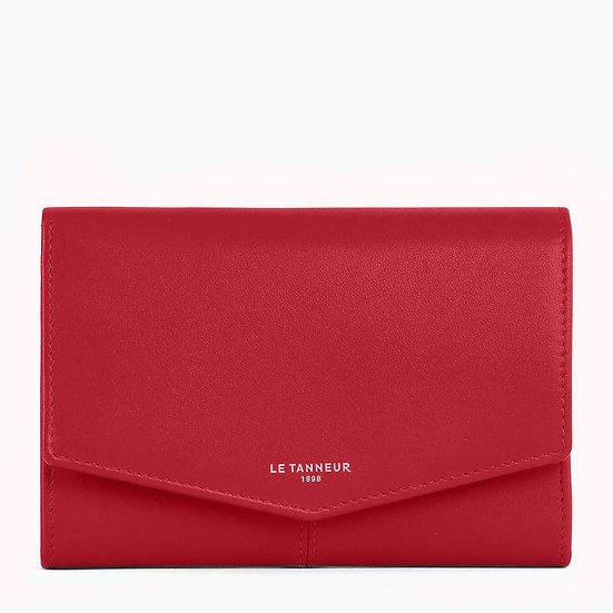 Grand portefeuille zippé Le Tanneur Charlotte en cuir lisse rouge
