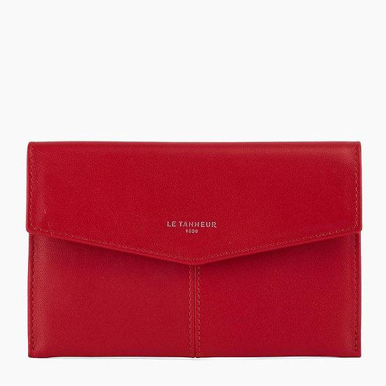 Pochette enveloppe Le Tanneur Charlotte en cuir lisse rouge