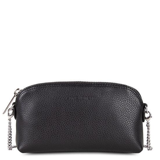 Mini sac porté travers Lancaster noir cuir vachette pleine fleur