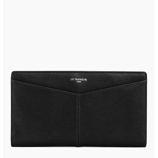 Porte chéquier Le Tanneur Charlotte en cuir lisse noir