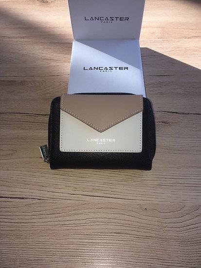 Portefeuille dos à dos Lancaster noir / écru / taupe vinyle et cuir