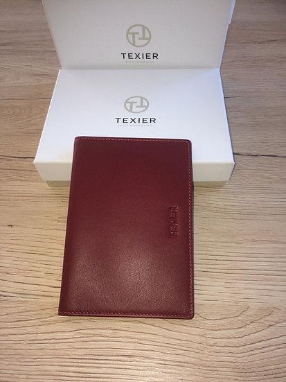 Porte passeport Texier rouge cuir vachette pleine fleur