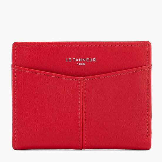 Porte cartes Le Tanneur Charlotte en cuir lisse rouge