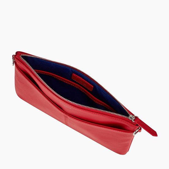 Pochette zippée Le Tanneur avec bandoulière Charlotte en cuir lisse rouge