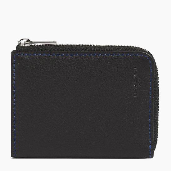 Porte monnaie zippé Le Tanneur Charles en L en cuir grainé noir et bleu