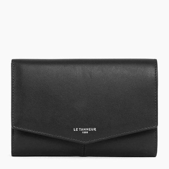 Grand portefeuille zippé Le Tanneur Charlotte en cuir lisse noir