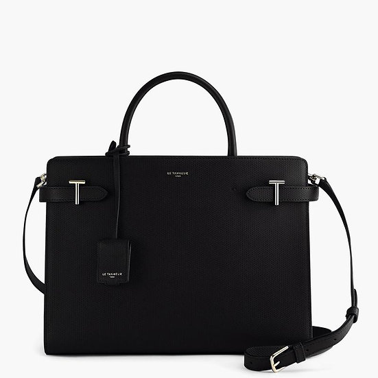 Grand sac à main Le Tanneur Emilie en cuir monogramme noir