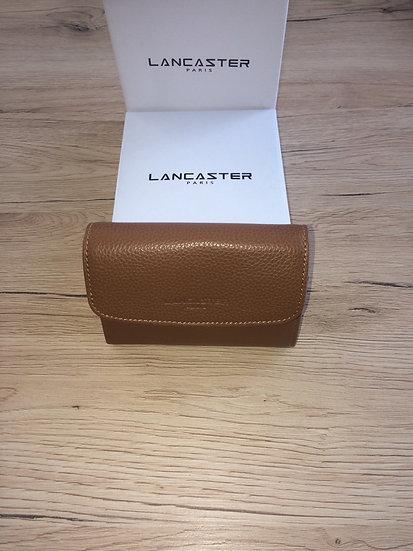 Porte monnaie Lancaster camel cuir vachette pleine fleur