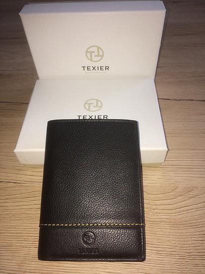 Portefeuille Texier européen format junior noir cuir vachette pleine fleur