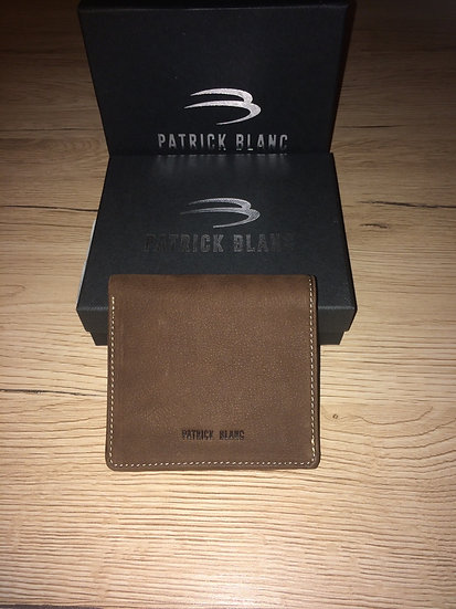 Porte monnaie crapaud Patrick Blanc marron cuir brut vachette pleine fleur