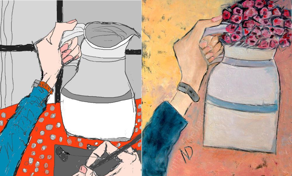 desenho digital e óleo s/ tela