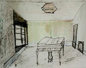 uma casa com piano