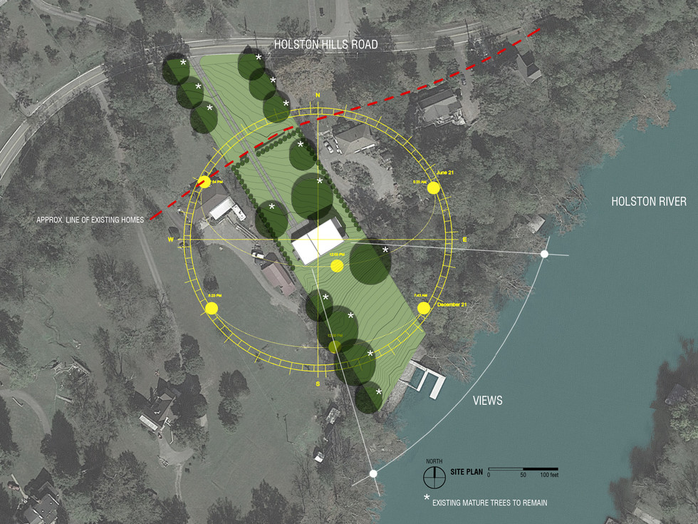 Site plan, views, solar orientation study