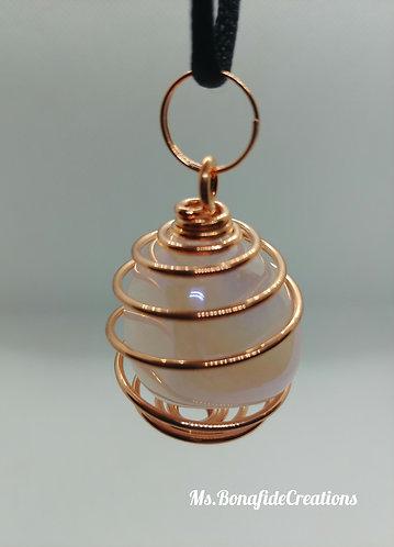 Rose Aura Quartz  Pendant (copper wire wrap)