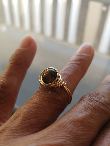 Tiger's Eye Gold Wire Wrapped Ring