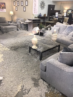 Water damage roof collapse furniture sto