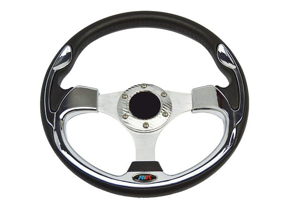 Universal PU Silver Steering Wheel 320mm Off Road / Marine / Golf Cart 8908