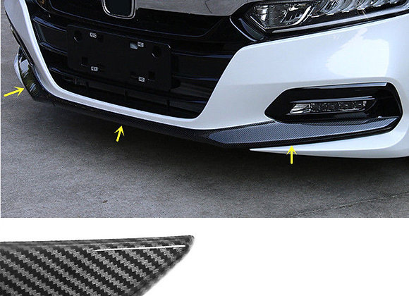 Carbon Fiber Look Front Bumper Lip Protect Cover Trim 3pcs for Honda Accord 2018