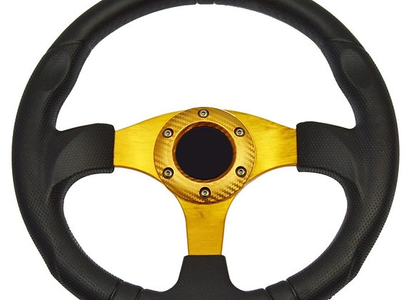 Universal PU Yellow Steering Wheel 320mm Off Road / Marine / Golf Cart 8914