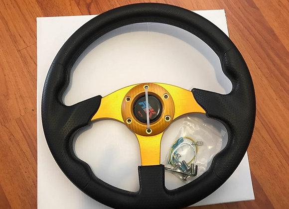 Universal PU Yellow Steering Wheel 320mm Off Road / Marine / Golf Cart 8