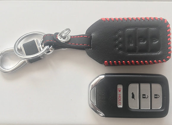 High Quality Leatherette Key Cover Protector Case ( Black - Red Stitching)
