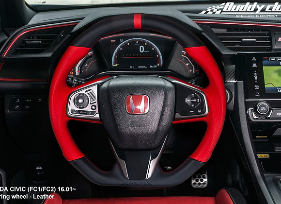 BUDDY CLUB STEERING WHEEL: CIVIC 16-18 INCLUDING TYPE R 17-18 (LEATHER) Time Att