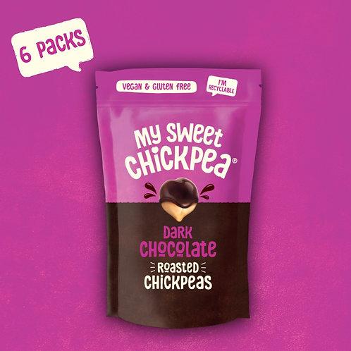 Dark Chocolate Chickpeas. Box of 6 Packs (100g Each)