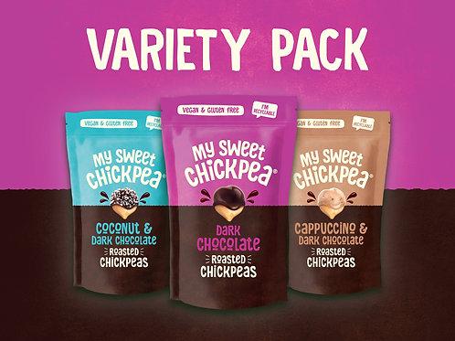My Sweet Chickpea Dark Chocolate Chickpeas Variety Pack (3 packs of 100g).
