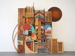 75x70x32, wood, metal, paper, plastic, found items, woven items, printed fabric, metal drum lid, artificial plant, stain, acrylic paint