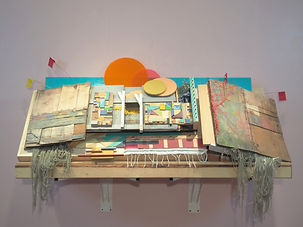 36x74x28 (object), 96x156x48 (installation) -  wood, plastic, steel, acrylic paint, latex paint, land marking flags, found items, artificial plants, acrylic plexiglass, woven sarape, yarn, netting