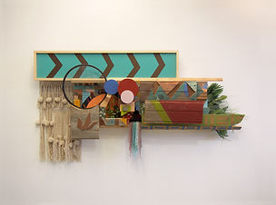 39x72x12, wood, acrylic paint, oil stain, cardboard, tape, plastic, artificial plants, woven wall hanging, patterned textiles, glass