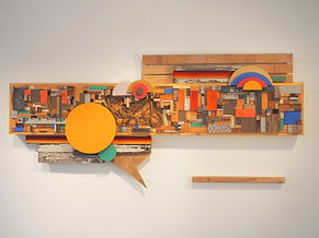 39x82x8, wood, woven blanket, stain, abacá rope, bone, acrylic paint, ink, wire fencing, found metal
