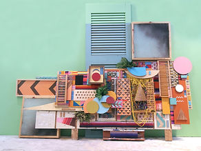 100x156x20 installation, 77x94x20 object, wood, paper, scouring pads, sheet metal, cut textiles, woven sarape, net, thread, stain, plastic stencil, acrylic paint, air filters, found items, artificial plants