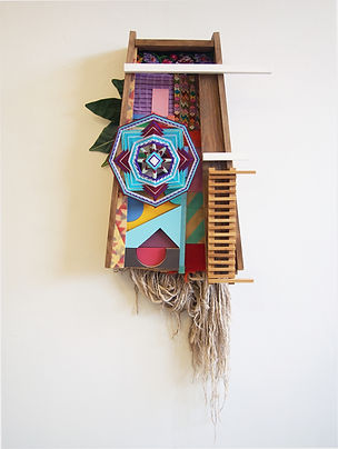 56x26x8, wood, paper, wool yarn, acrylic paint, oil stain, found items, woven ojos de dios, woven indigenous latin american textiles, artificial plants, scouring pads