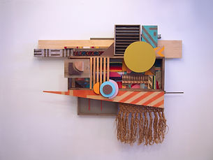 48x64x11, wood, woven blanket, screens, scouring pads, macramé hanging, plastic, patterned bandana, acrylic paint, oil stain