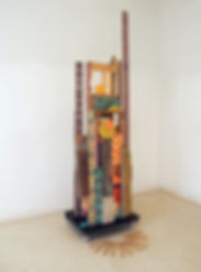 100x30x38, wood, concrete, acrylic paint, oil stain, found metal, ceramic tile, tape, found cart