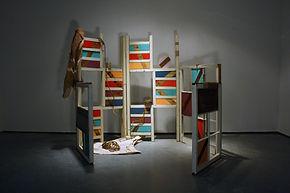 55x 60x 60,  wood, stain, acrylic paint, abacá rope, jute twine, canvas, burlap