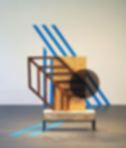 70x70x84 (installation), 48x44x8 (object), wood, concrete, steel, plexiglass, stain, tape