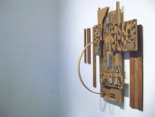 70x60x20, found wood/tree limbs, cardboard, concrete, copper flashing, stain, acrylic paint