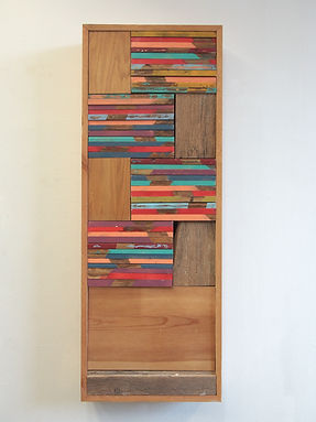 48x18x6, wood, stain, acrylic paint