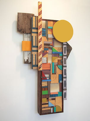 40x23x6, wood, plastic, stain, acrylic paint, ink