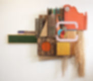 82x84x10, wood, burlap, raffia, bamboo, tape, plexiglass, woven sarape, paper, found items, jute, acrylic paint, cardboard box, artificial plant, artificial turf
