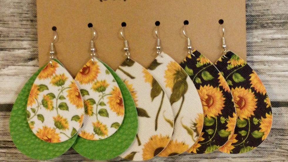 Sunflower Faux Leather Earrings