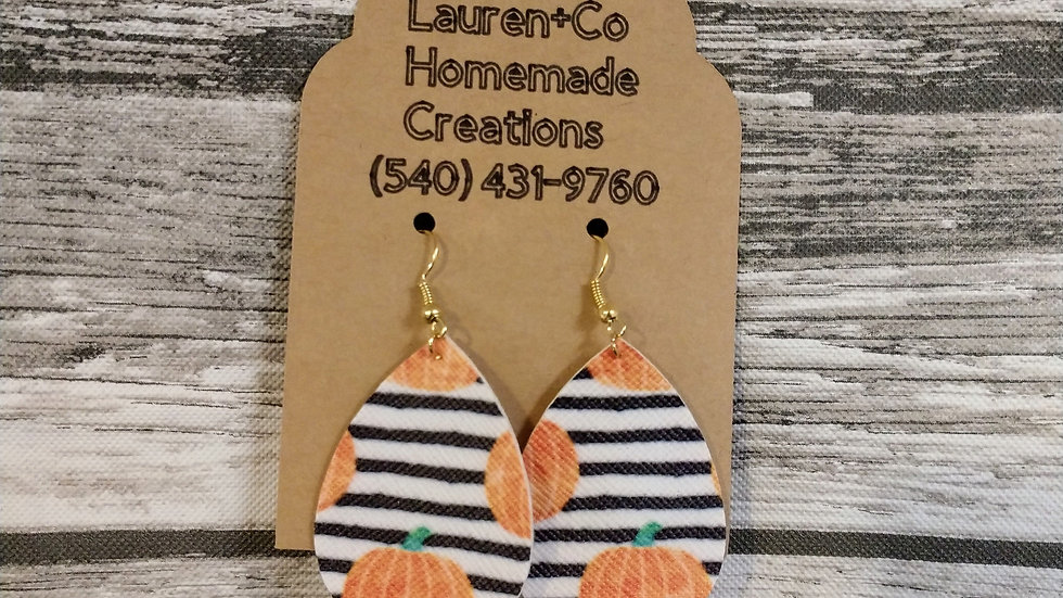 Stripped Pumpkin Faux Leather Earrings