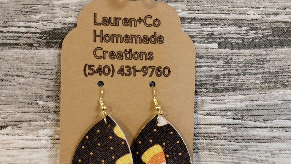 Candy Corn Faux Leather Earrings