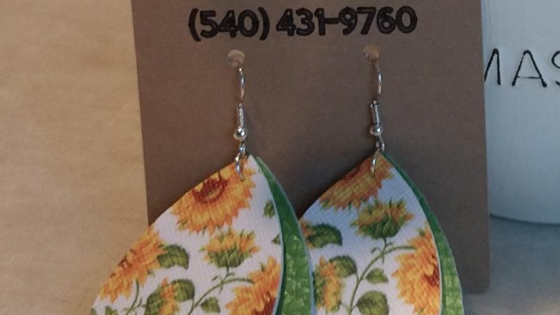 Green Two Tiered Sunflower Earrings