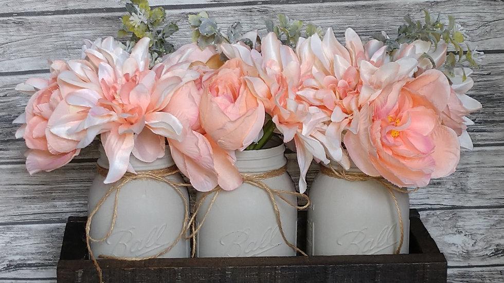 Mason Jar Floral Arrangement- Peach and Grey