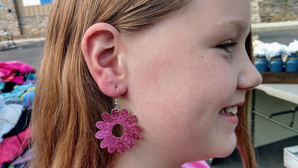 Glitter Pink Flower Faux Leather Earring
