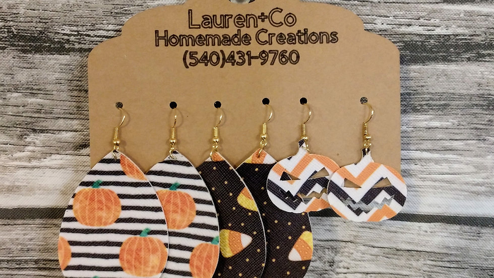 Halloween Faux Leather Earring Collection